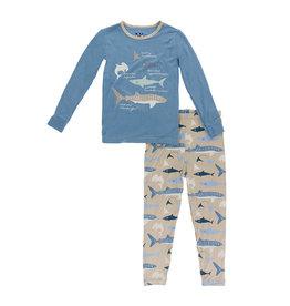 Kickee Pants Print Long Sleeve Piece Print Pajama Set Burlap Sharks
