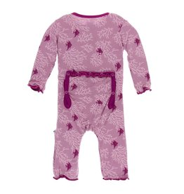Kickee Pants Print Muffin Ruffle Coverall with Zipper Coral Stripe