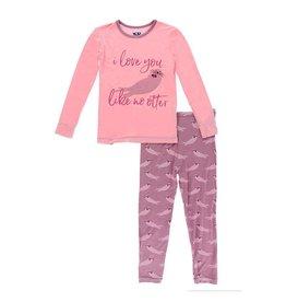 Kickee Pants Print Long Sleeve Piece Print Pajama Set Pegasus Sea Otter