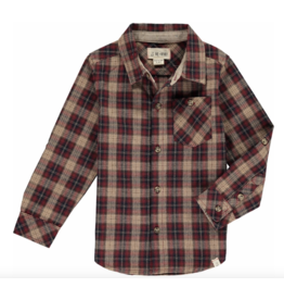 Me + Henry Wine/Beige Plaid Shirt, Mens