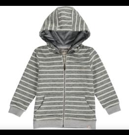 Me + Henry Green/Cream Stripe Hooded Top, Baby