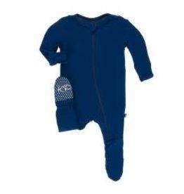 Kickee Pants Solid Footie with Zipper Navy NB, Newborn