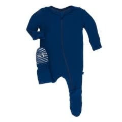 Kickee Pants Solid Footie with Zipper Navy NB, Newborn