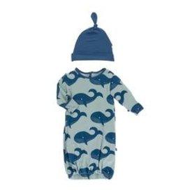 Kickee Pants Print Gown Converter & Knot Hat Set Jade Whales