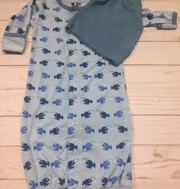 Kickee Pants Print Gown Converter & Knot Hat Set Pond Angler Fish