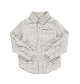 Me + Henry Grey Long Sleeve Woven Shirt 4-5Y