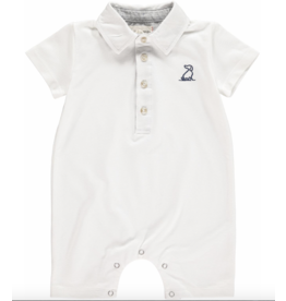 Me + Henry Pique Polo Romper, White 12-18M