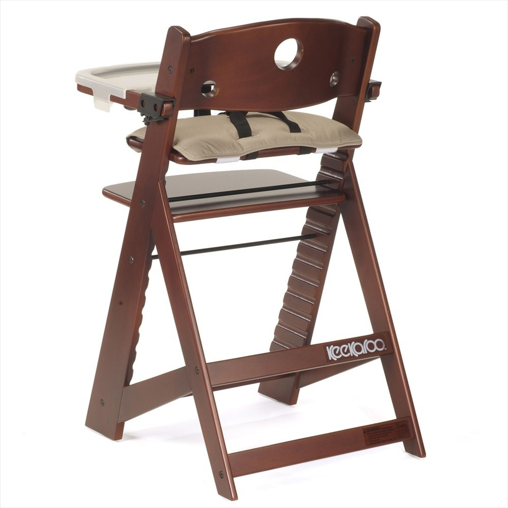 Keekaroo by Bergeron By Design Height Right HIGH Chair Mahogany w/ Tray and Cover and Vanilla Infant Insert