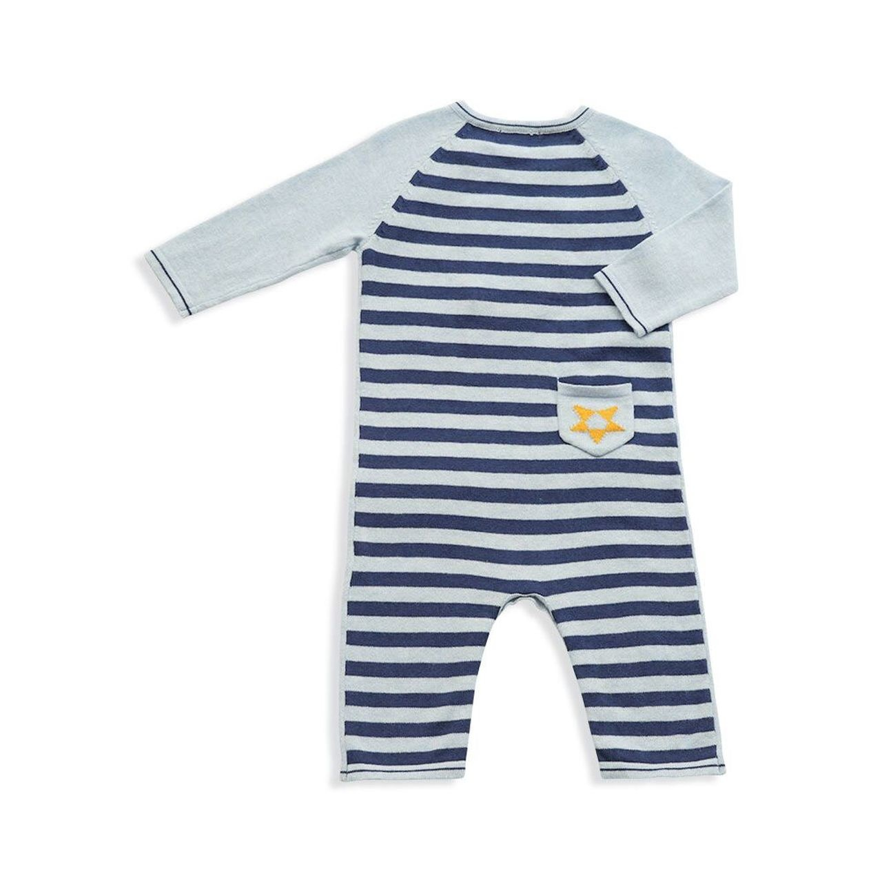 Angel Dear Western Wilderness Knits Bison Coverall Blue Heather 3-6M