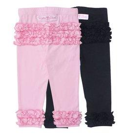 RuffleButts Ruffle Leggings Pink/Black Set