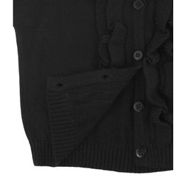 RuffleButts Ruffled Cardigan Black