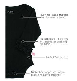 RuffleButts Ruffled Long Sleeve Bodysuit Black