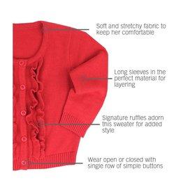 RuffleButts Ruffled Cardigan Red