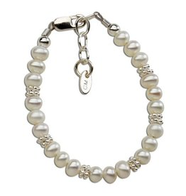 Cherished Moments Victoria - SM Sterling Silver Bracelet With Freshwater Pearls and Silver Daisies