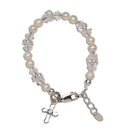 Cherished Moments Krista - SM Sterling Silver Bracelet With Genuine Freshwater Pearls, Swarovski Elements Crystal, Silver Rings With A Silver Cross