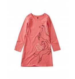 Tea Collection Metallic Wind Horse Dress - Dry Rose