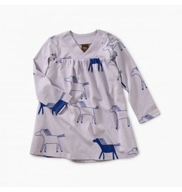 Tea Collection Printed Wrap Neck Baby Dress - Lilac Mist Highland Horses