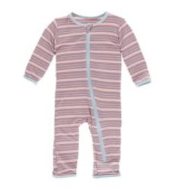 Kickee Pants Print Coverall with Zipper India Dawn Stripe 12-18m