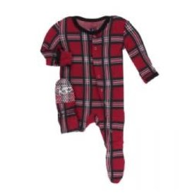 Kickee Pants Print Footie with Snaps Christmas Plaid 2019 3-6M