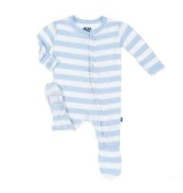 Kickee Pants Print Classic Footie with Zipper in Pond Stripe 0-3M
