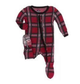 Kickee Pants Print Classic Ruffle Footie with Snaps Christmas Plaid 2019 0-3M