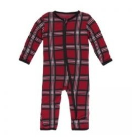Kickee Pants Print Coverall with Zipper Christmas Plaid 2019 18-24M