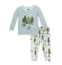 Kickee Pants Print Long Sleeve Pajama Set Woodland Cabin 4T