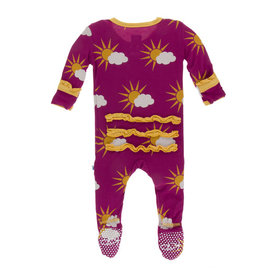 Kickee Pants Print Classic Ruffle Footie with Zipper Berry 6-9m