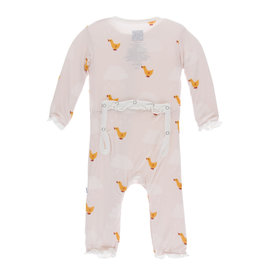 Kickee Pants Print Muffin Ruffle Coverall with Zipper Macaroon Puddle Duck 12-18m