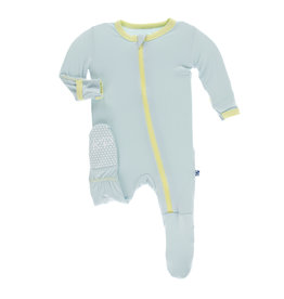 Kickee Pants Solid Footie with Zipper - Spring Sky with Lime Blossom NB, Newborn