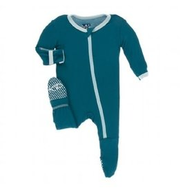 Kickee Pants Solid Footie with Zipper Heritage Blue with Spring Sky 0-3M