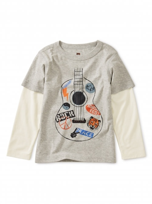 Tea Collection Guitar Graphic Layered Tee - Heather Grey