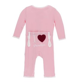 Kickee Pants I Love Grandpa Layette Appliqué Coverall - Lotus  3-6M