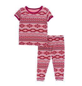 Kickee Pants Print S/S Pajama Set Strawberry Mayan Pattern 6Y