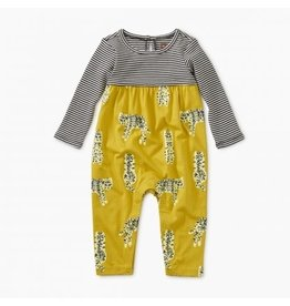Tea Collection Two-Tone Romper - Leopard Cats  3-6M