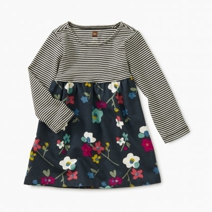Tea Collection Two-Tone Baby Dress - Himalayan Floral  18-24M