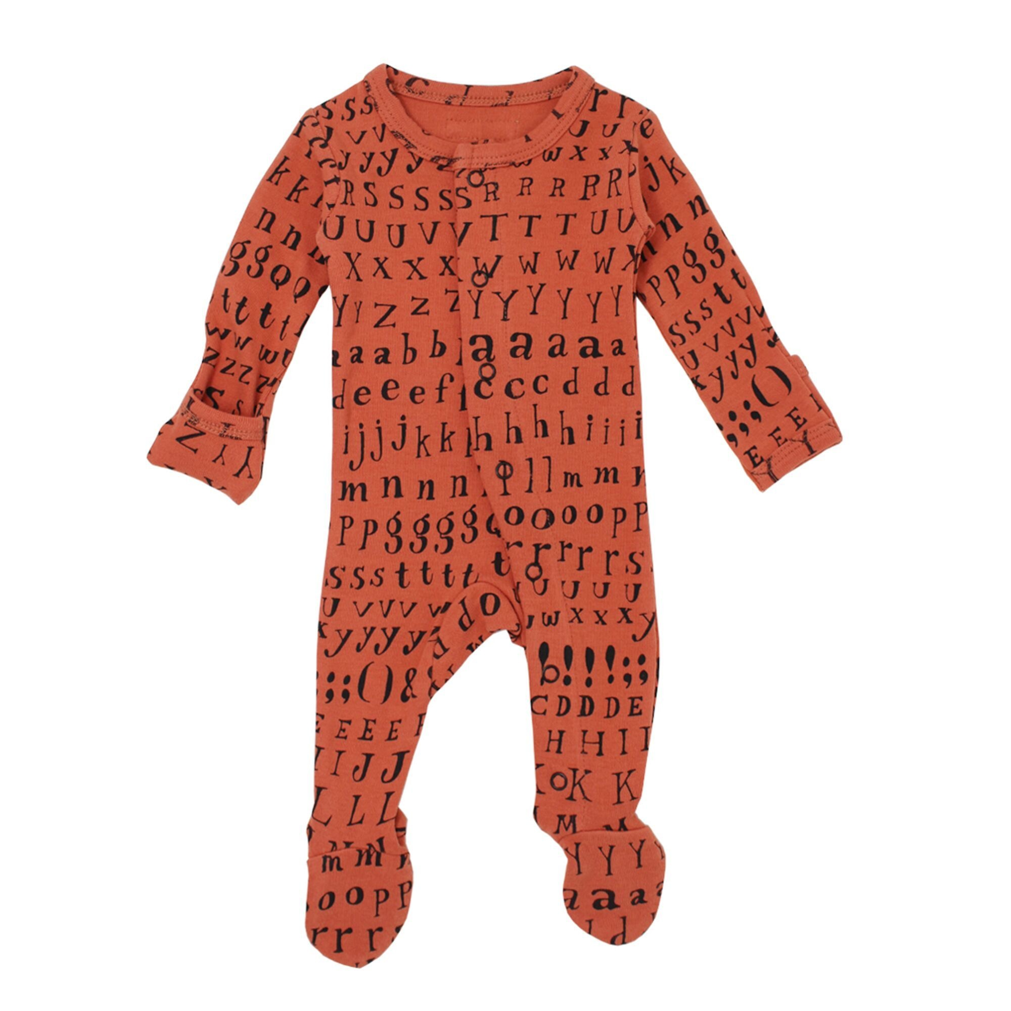 Loved Baby Organic Footed Overall - Maple Letters 3-6M