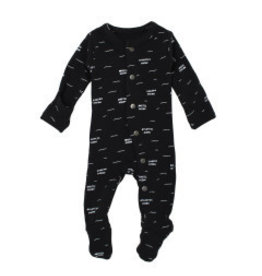 Loved Baby Organic Footed Overall - Black Seas 3-6M