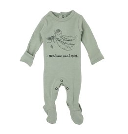 Loved Baby Organic Graphic Footie - Seafoam Peas 6-9M