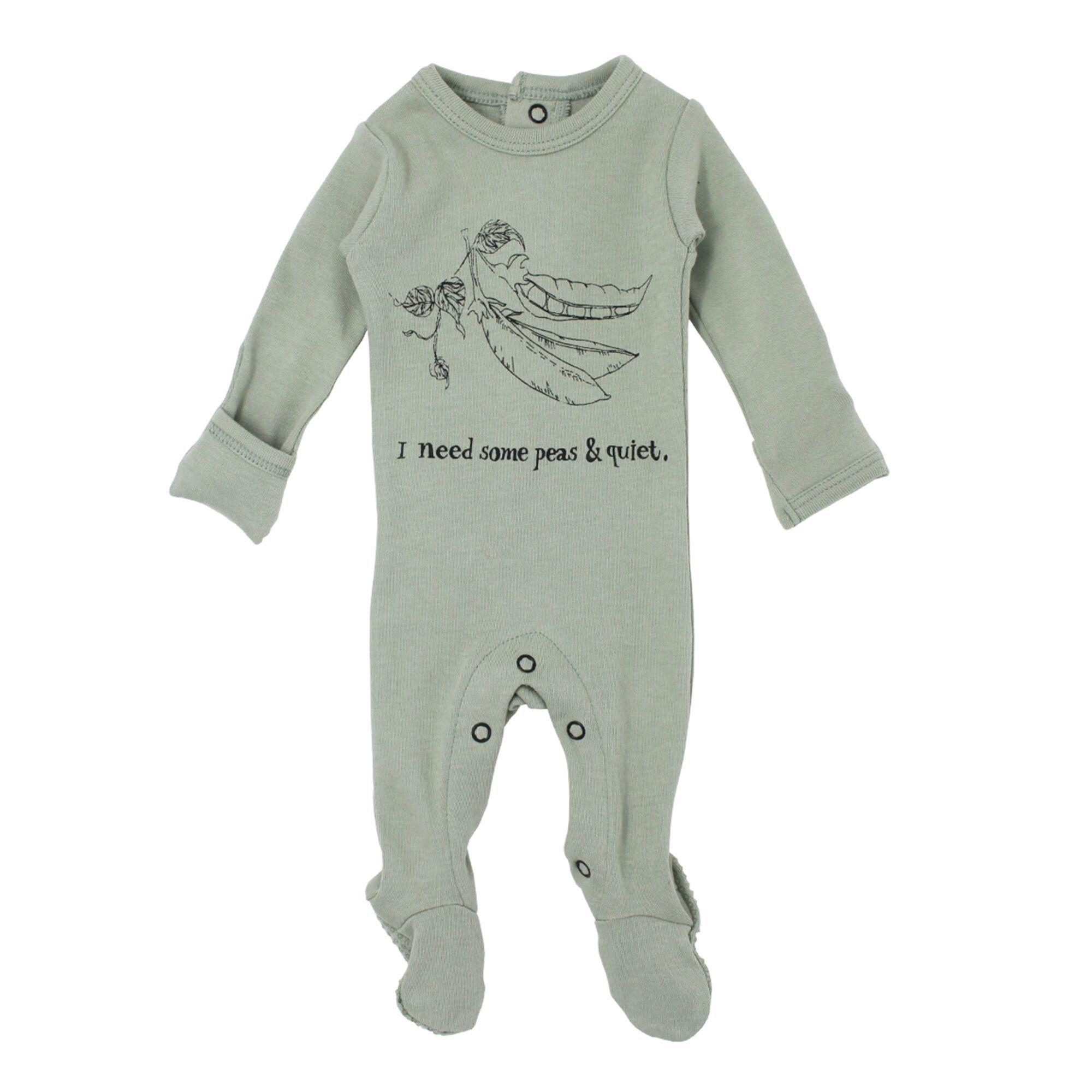 Loved Baby Organic Graphic Footie - Seafoam Peas 6-9M