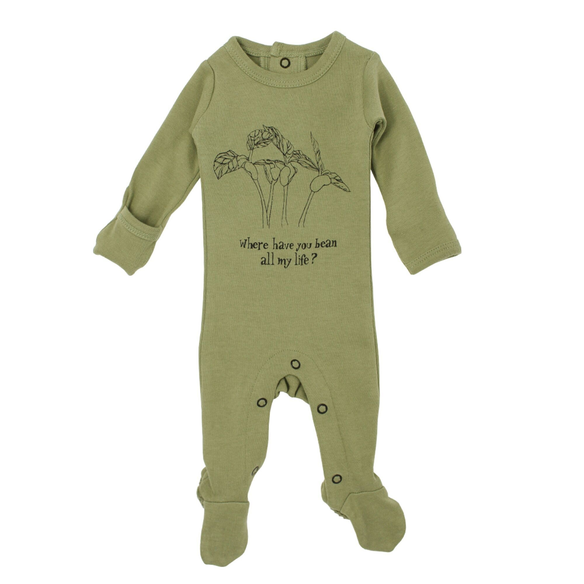 Loved Baby Organic Graphic Footie - Sage Beans 0-3M