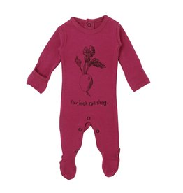 Loved Baby Organic Graphic Footie - Magenta Radish 3-6M
