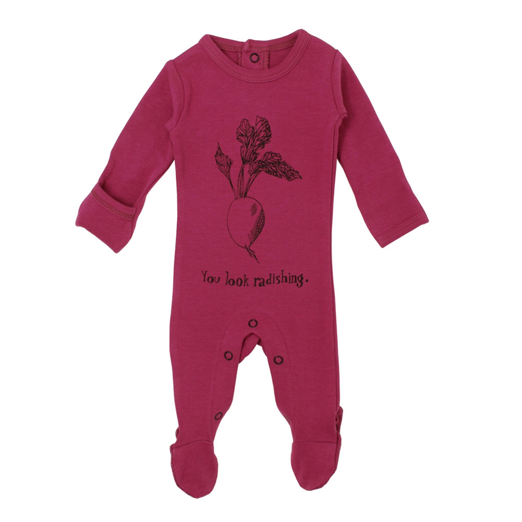 Loved Baby Organic Graphic Footie - Magenta Radish 3-6M
