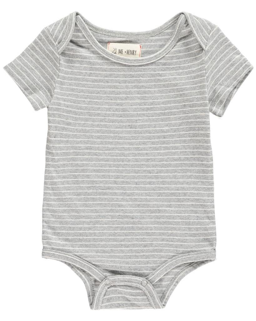 Me + Henry Striped Onesies, Grey 18-24M