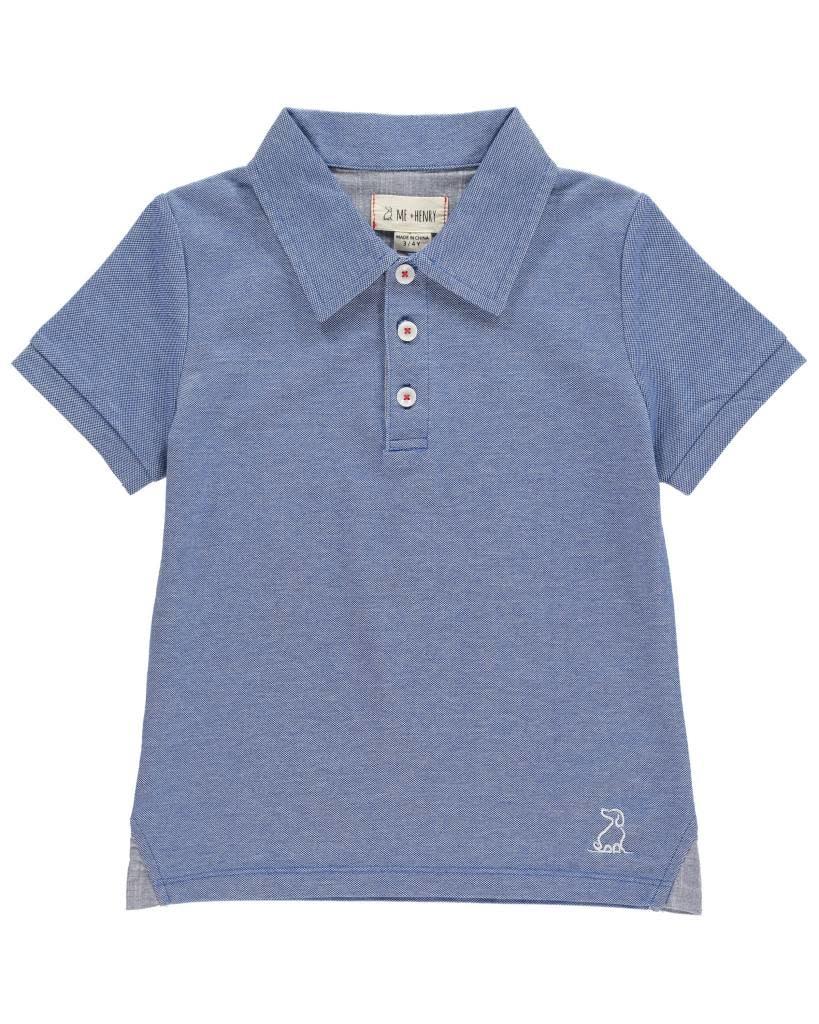 Me + Henry Pique Polo Shirt, Blue 4-5Y