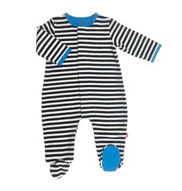 Magnetic Me Black Stripe Blue Trim Velour Magnetic Footie 9-12M