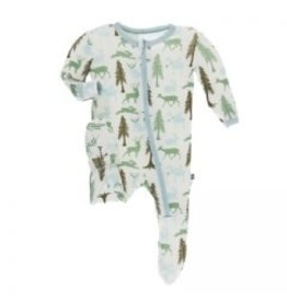 Kickee Pants Print Footie with Zipper Natural Woodland Holiday 0-3M