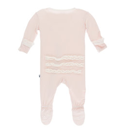 Kickee Pants Solid Classic Ruffle Footie with Zipper Macaroon with Natural 0-3m
