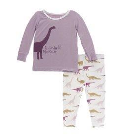 Kickee Pants Print L/S Pajama Set Natural Goodnight Dinosaur 5Y