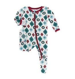 Kickee Pants Holiday Footie with Zipper: Natural Vintage Ornaments NB Newborn